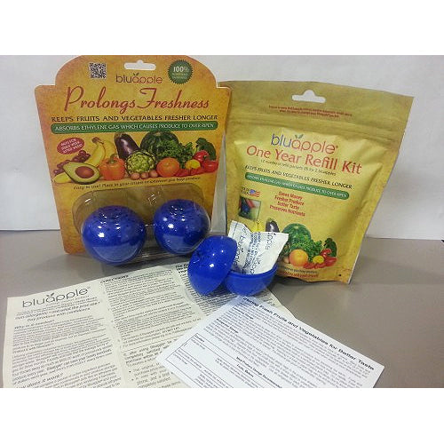 Bluapple Food Fresheners and Refill Kit packages
