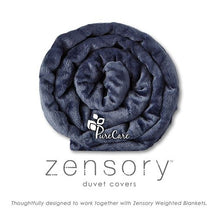Dark Blue Duvet Cover for Zensory Weighted Blanket, Rolled Up