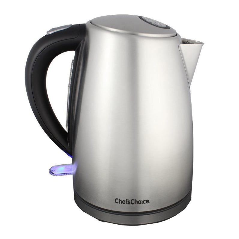 Chef's Choice Cordless Electric Kettle M681, on base, with power on