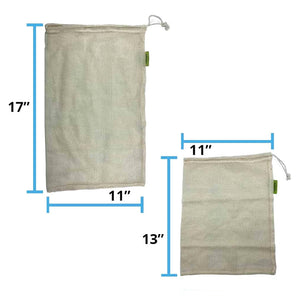 Reusable Cotton Mesh Produce Bag Dimensions