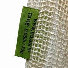 Close-up of Tare Tag on Cotton Mesh Produce Bag