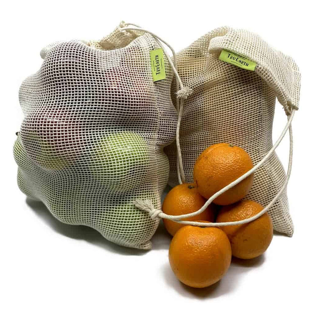 Reusable Cotton Mesh Produce Bags (shown filled)