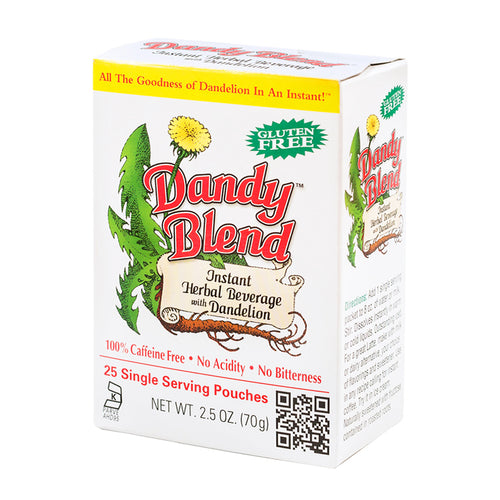 Box of 25 single serving pouches of Dandy Blend Instand Herbal Beverage