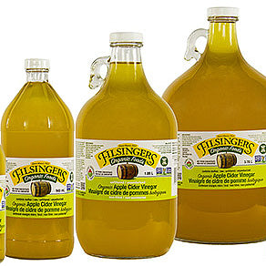 Three sizes of Filsinger's Organic Apple Cider Vinegar
