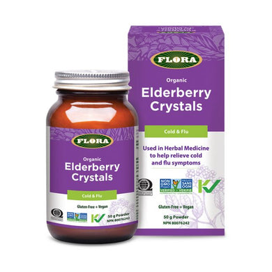 Flora Elderberry Crystals, 50g Bottle and Box