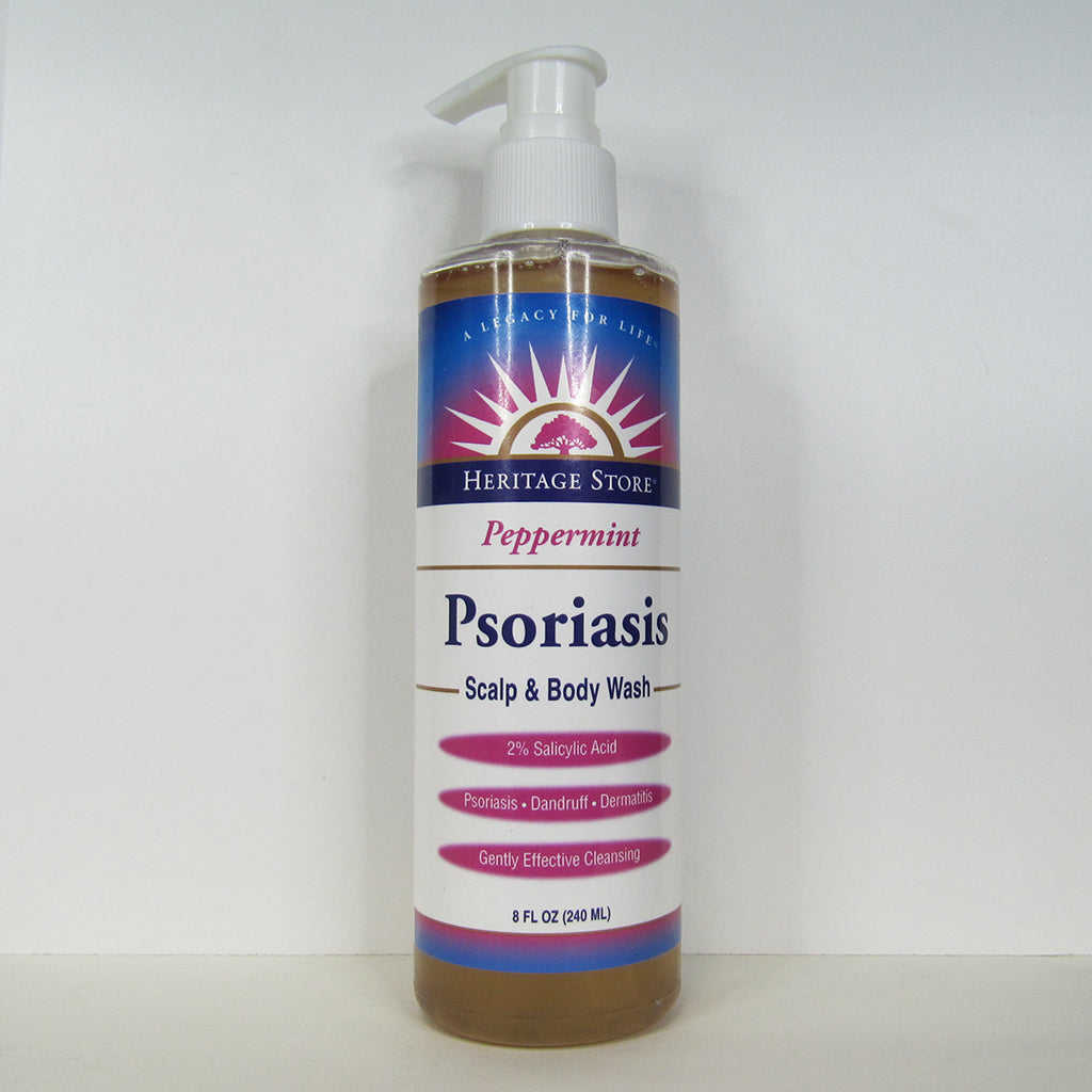 240ml bottle of Heritage Store Psoriasis Scalp and Body Wash (Peppermint)