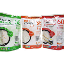 Konjac Ramen Noodles, Rice Shaped Konjac, and Sticky Rice with Konjac