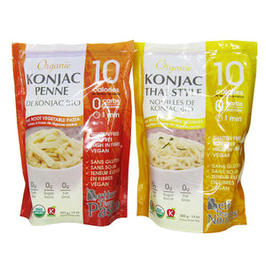 Packages of Organic Konjac Penne and Thai Style Noodles