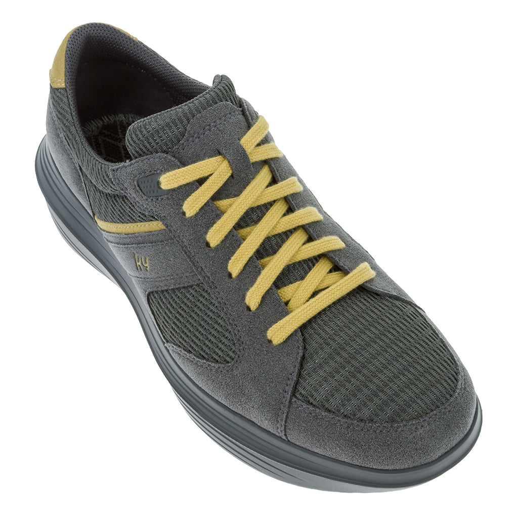 kybun Airolo shoe, Anthracite colour, shown from front and outer side