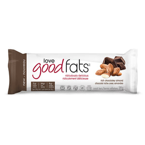 Wrapper for 39g Love Good Fats Rich Chocolatey Almond bar