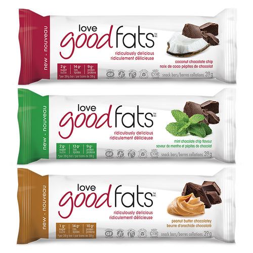 3 types of Love Good Fats Keto-Friendly Chocolate Bars