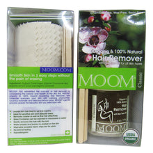 Load image into Gallery viewer, front and rear sides of MOOM Organic Hair Removal Kit package