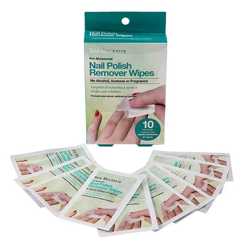 Nail Polish Remover Wipes box and individual packets