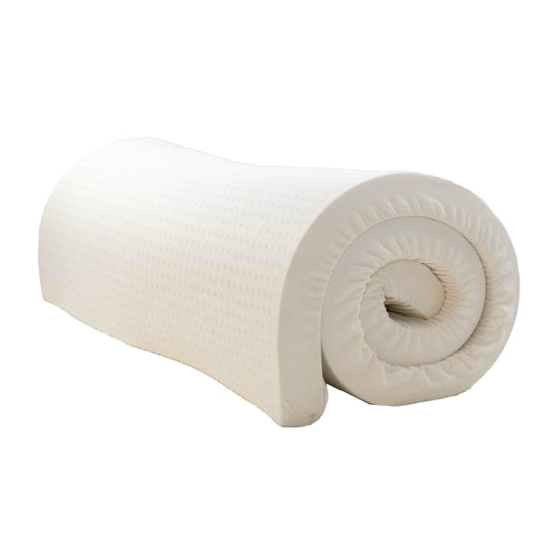 a rolled up 2 inch thick Nature's Embrace mattress topper