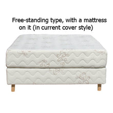 a free-standing Nature's Embrace Mattress Foundation and a mattress, in their current cover style