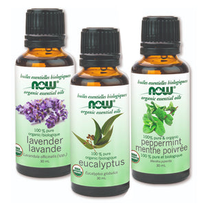 Several types of NOW Organic Essential Oil in of 30 ml bottles
