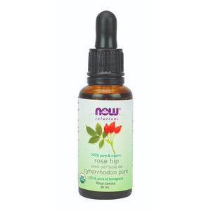 30 ml bottle of NOW Organic Rose Hip Seed Oil