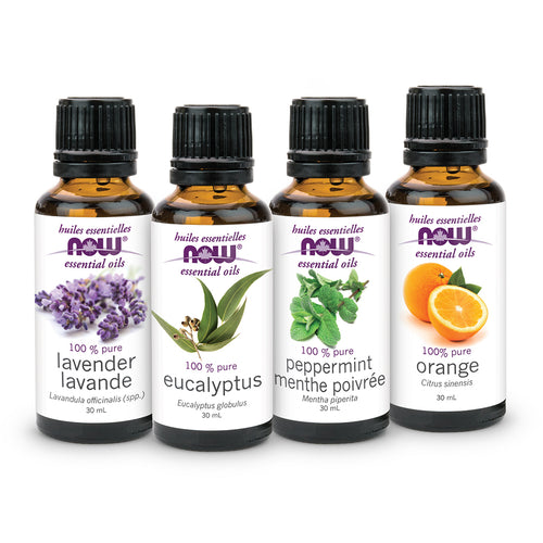 Four types of NOW 100 Percent Pure Essential Oil in 30 ml bottles