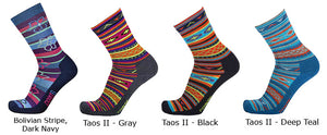 Point6 Active Life, Extra Light Socks in Bolivian Stripe (Dark Navy) and Taos II (Gray, Black & Deep Teal) Patterns