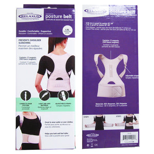 front and back of box for Relaxus Posture Belt