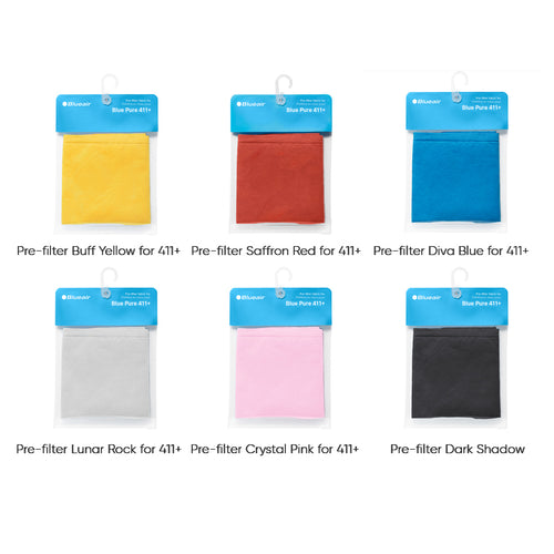 all 6 colours of Blue Pure 411 Plus fabric prefilters in packages