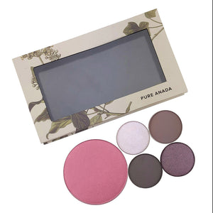 Personal Magnetic Compact, near pans of makeup that can fit in it (not included)