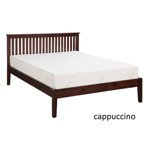 Renelle Newport Platform Bed in Cappuccino finish with a mattress on it