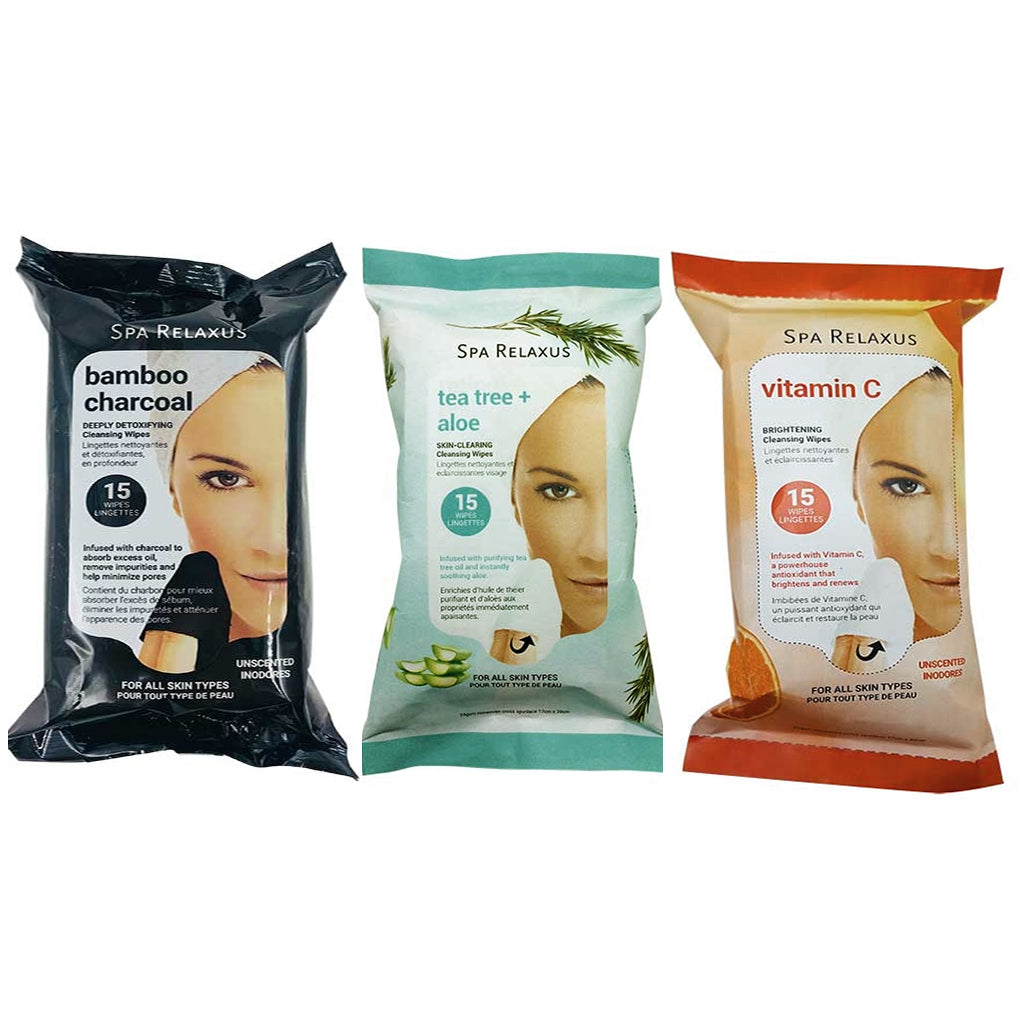 Packages of 3 types of Spa Relaxus Cleaning Wipes