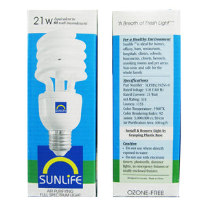 SunLife Lighting 21w Bulb box front and rear