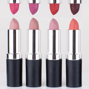 the 8 original Tin Feather lipstick shades