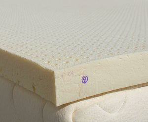 an uncovered 2 inch thick Nature's Embrace topper on a mattress