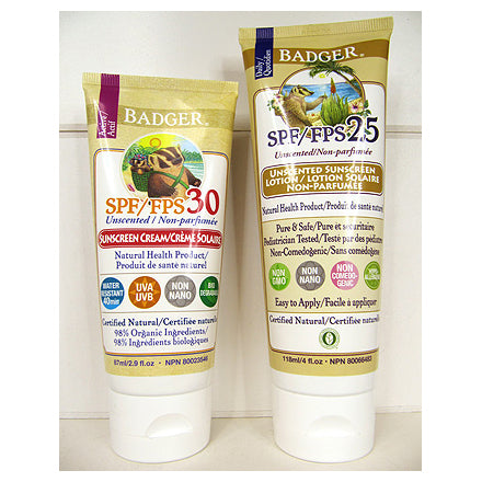 two types of Badger Unscented Sunscreen Lotion