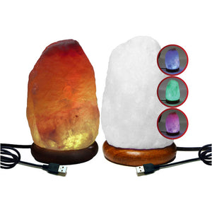USB-powered Himalayan Salt Crystal Lamps; with inset of alternating colours for Sundhed version