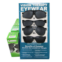four Vision Therapy Eyewear models in display stand