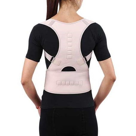 wearing a Relaxus Posture Belt, rear view