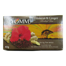 Box of  20 Yomm Hibiscus and Ginger tea bags