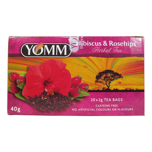 Box of  20 Yomm Hibiscus and Rosehips tea bags