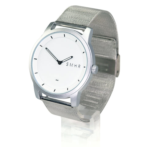 Matte White - Stainless Steel Strap - Smart Hour