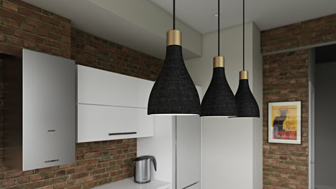La Brea LED Pendant Light grouped in three in a kitchen