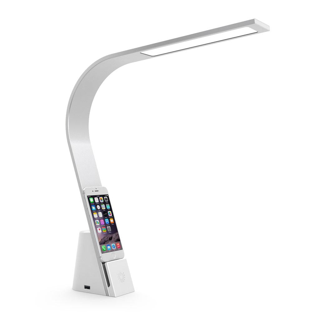 The Brooklyn USB LED Task Lamp joins understated modern design and seamless functionality to create a versatile and elegant task light for desks and tables. It features three touch-activated brightness levels, casting energy-efficient, warm, white light, two USB charging ports and an integrated device mount.