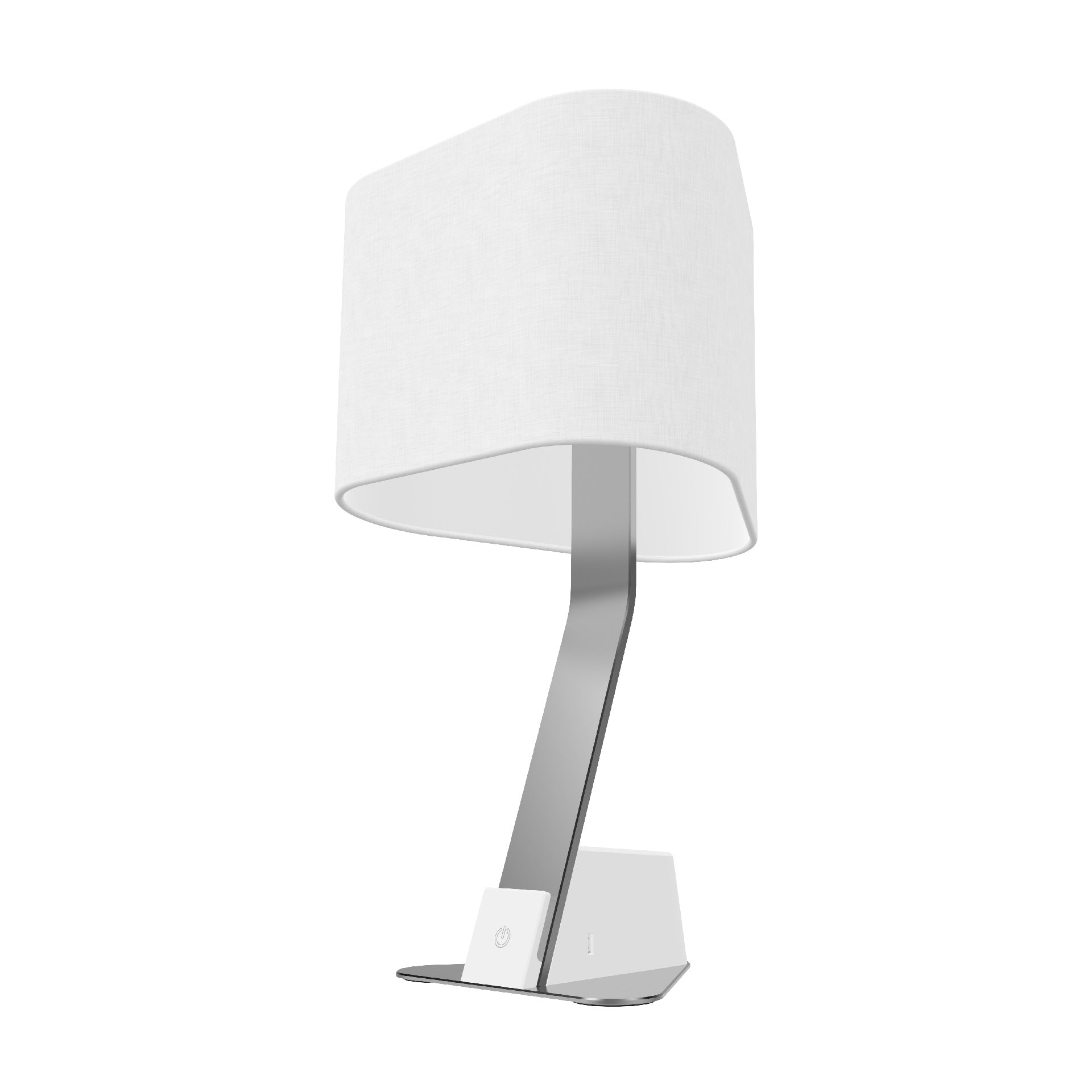 The Brooklyn AC LED Desk Lamp pairs the understated modern curves of the Brooklyn line with the functionality of two universal AC outlets (compatible with US, UK, EURO, and other international plugs), and two USB ports. The fine linen shade offers a sleek and elegant finish to compliment the lines of the aluminum extrusion. The lamp also features a hidden threaded mount for additional stability and security.
