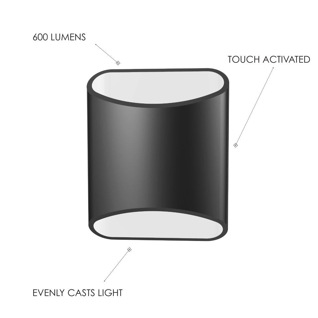 Diagram of features on a Brooklyn LED wall sconces including that it has touch activation, 600 lumens, and evenly casts light