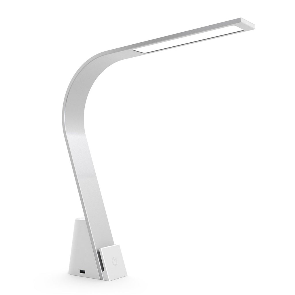 Close up of brushed aluminum Brooklyn LED task lamp with AC Plugs