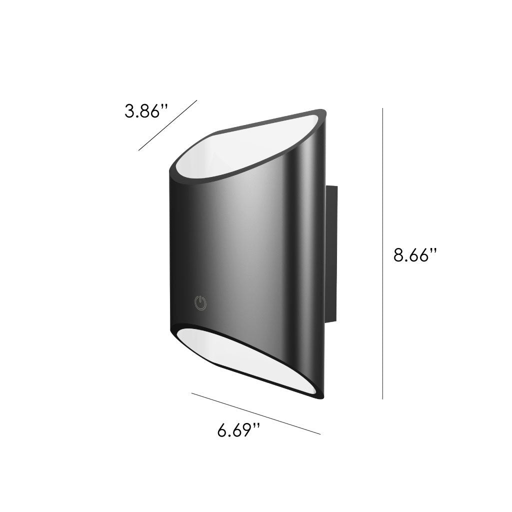 Dimensions of a black slate Brooklyn LED wall sconce