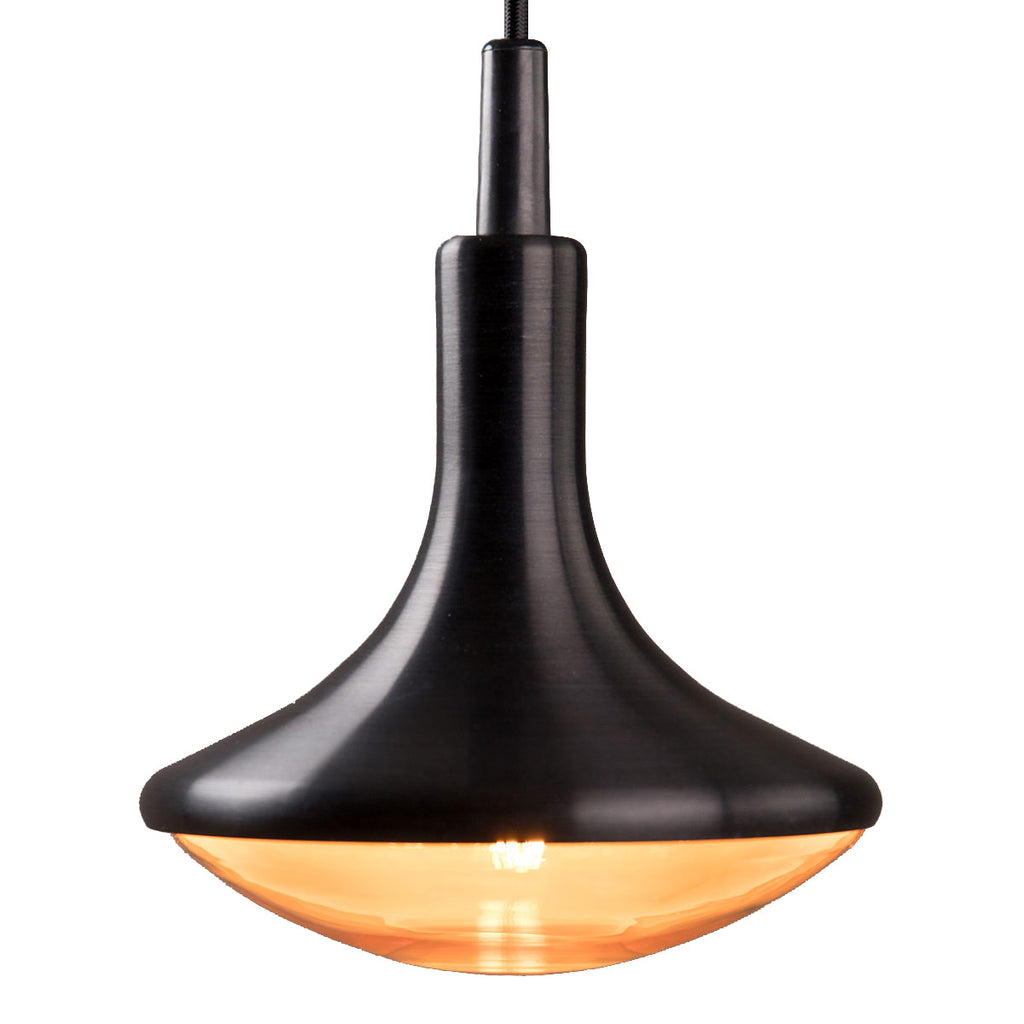 Close up side view of a satin black droplet LED pendant light