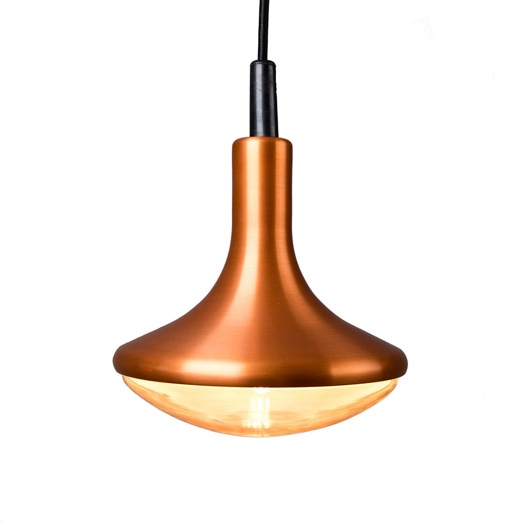Close up side view of a copper droplet LED pendant light