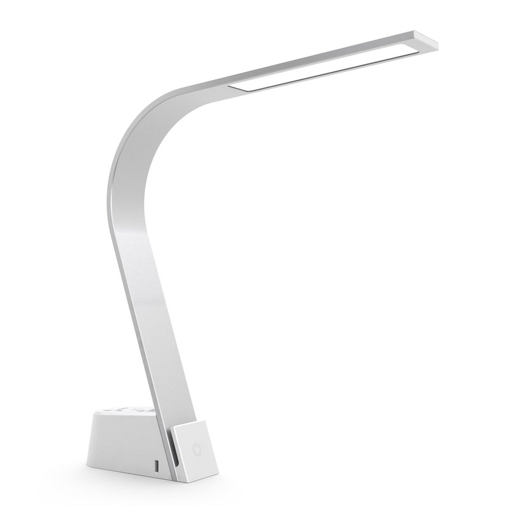 Brooklyn LED task lamp in brushed aluminum with two AC plugins