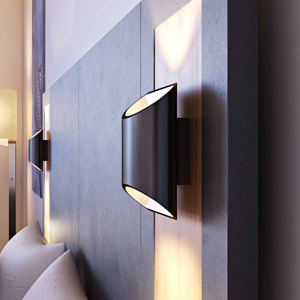 Brooklyn LED Wall Sconce in Black Slate in a Headboard by LUX LED Lighting