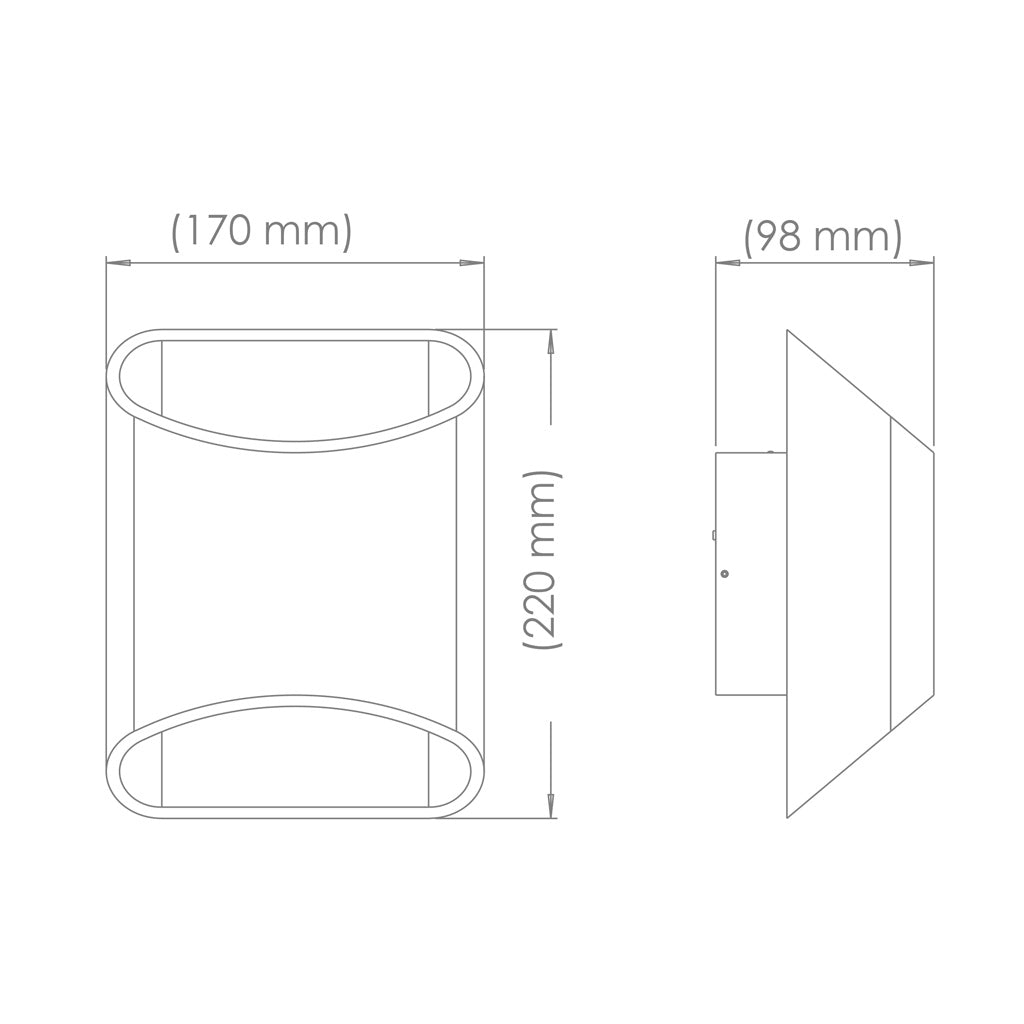 Drawing of the dimensions of a Brooklyn LED wall sconce