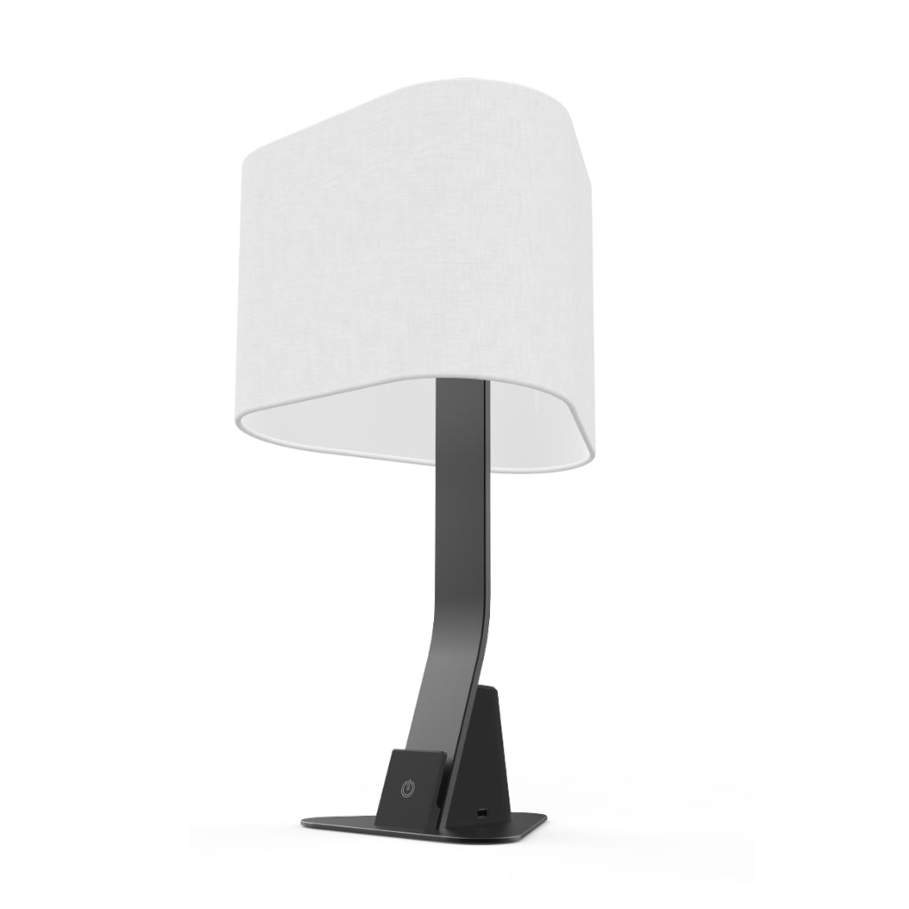 Black slate Brooklyn LED desk lamp with linen shade and touch control
